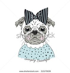 portrait of cute pug doggy hipster girl, hand drawn graphic, kid print