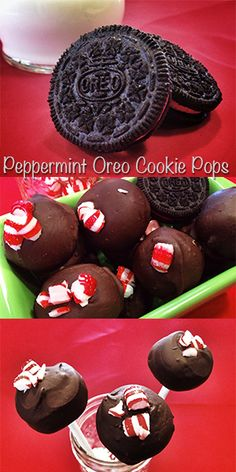 Peppermint Oreo Cookie Balls or Pops