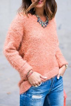Sweaters are supposed to be fuzzy and warm, so why not show that off? Nab one in a sorbet hue, like light pink, peach, blue, or green. #fall #style