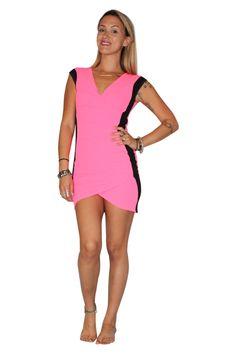 Beautiful Bodycon Dress! Neon Pink/Black. - 5dollarfashions.com