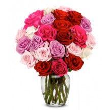 Buquê do Amor E2D com 24 Rosas em Tons de Rosa para os Estados Unidos (entrega após 2 dias úteis)*