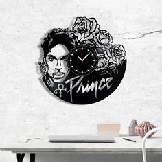 Prince Vinyl Clock, Prince Wall Clock, Best Gift for Pop and Rock Music Lover, Original Wall Home Decor Vinyl Record Clock, Vinyl Records, Quartz Clock Mechanism, Bedroom Apartment, Apartment Living, Art Decor, Home Decor, Unique Art, Gift Guide