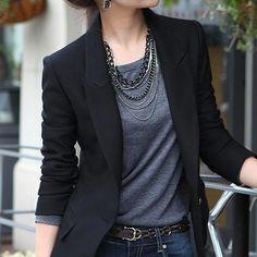 (Green Blue Black) Women Blazers And Jackets Long-sleeved Suit Ms. Blazer Femme Blaser Feminino Casual Blazer For Ladies Suit Jackets For Women, Blazers For Women, Casual Jackets, Black Blazers, Ladies Blazers, Jean Jackets, Outerwear Jackets, Business Casual Outfits, Business Casual