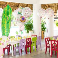 Beautiful confetti balloons and colorful chairs for Llama Party event. Party Themes, Party Ideas, Llama Llama, Birthday Parties, Birthday Cake, Colorful Chairs, Confetti Balloons, Llamas, First Birthdays