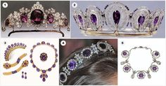 AMETHYST ROYAL TIARAS  II  1. Amethyst tiara from the Bedford/Tavistock family 2. Amethyst tiara, frequently confused for Queen Alexandra's mystery amethyst tiara above, but with several design differences 3. Antique gold and amethyst tiara (with accompanying set), c.1880 4. Queen Josephine's Amethyst Tiara, from Sweden 5. Amethyst piece from Queen Alexandra, a necklace convertible to a tiara, since passed out of the family and sold