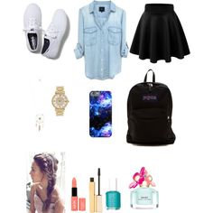 school by evalynntween on Polyvore featuring polyvore fashion style Keds JanSport Michael Kors Aéropostale Stila NYX Marc Jacobs Essie