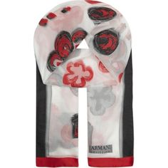 ARMANI COLLEZIONI Sheer floral scarf (580 CAD) ❤ liked on Polyvore featuring accessories, scarves, red, floral scarves, red scarves, sheer shawl, embroidered scarves and floral shawl