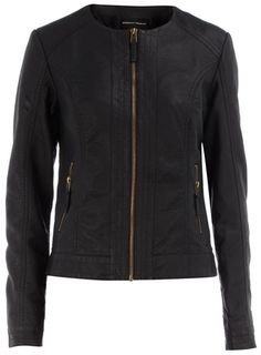 What a great find! I love how this leather (pleather?) jacket isn't too masculine. Simple and chic
