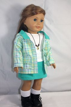 American Girl Doll Clothes Plaid Hooded by buttonandbowboutique.  Cute outfit!
