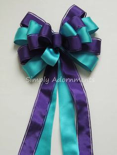 Teal Purple Peacock Wedding Aisle Pew Bow by Simply Adornments