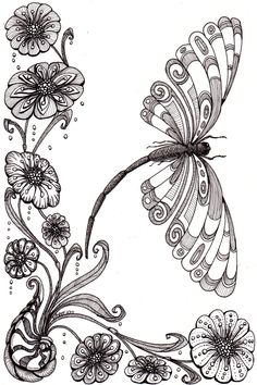 Dragonfly and shell. Beautiful and original whimsical abstract psychedelic stylised Ink drawing illustration dragonfly flower shell Patterns Art Designs Ideas Zentangle Drawings, Doodles Zentangles, Zentangle Patterns, Doodle Drawings, Doodle Art, Dragonfly Art, Dragonfly Tattoo, Tangle Art, Colouring Pages