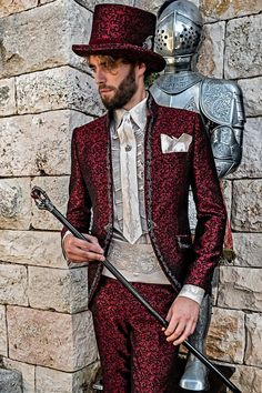Luxury gothic style frock coat for groom red brocade with silver embroidery Baroque Fashion, Gothic Fashion, Gentleman Style, Gentleman Fashion, Gothic Mode, Wedding Frocks, Mode Costume, Suit Prices, Frock Coat