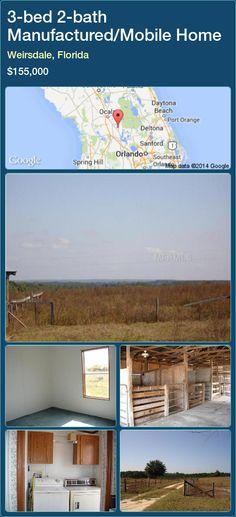3-bed 2-bath Manufactured/Mobile Home in Weirsdale, Florida ►$155,000 #PropertyForSaleFlorida http://florida-magic.com/properties/9741-manufactured-mobile-home-for-sale-in-weirsdale-florida-with-3-bedroom-2-bathroom