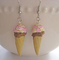 Double Scoop Ice Cream Cone Earrings  Mini Food by Artwonders, $10.00