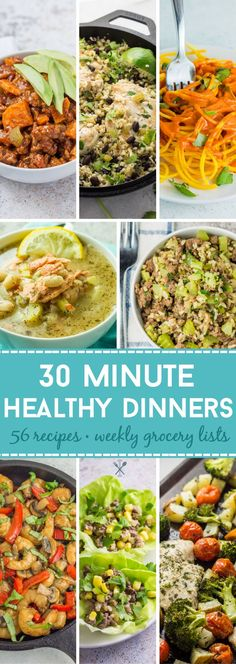 56 healthy real food meal dinner recipes in 30 minutes or less. Gluten free dairy free and tons of paleo options. Includes weekly grocery lists and prep tips! Best Paleo Recipes, Paleo Chicken Recipes, Primal Recipes, Whole 30 Recipes, Whole Food Recipes, Paleo Meals, Paleo Food, Clean Recipes, Healthy Meals