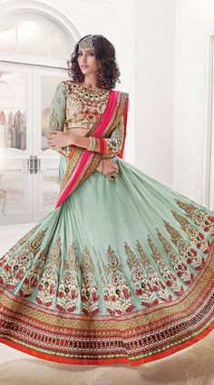 India Bazaar Online Celestial Light Sea Green Soft Net Navratri Chaniya Choli AUD 195.26