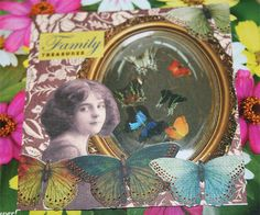 "Family Treasures 4"" x 4"" collage art card-unmounted-$9.95 contact diadsie@comcast.net"