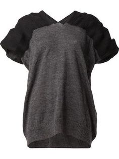 contrasted sleeve sweater