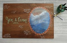 Mountain Wedding Wood Guest Book Sign / Wedding Guestbook Alternative Hand Painted / Personalized Mountain Painting on Wood / Rustic Wedding  #mountainwedding #guestbookideas