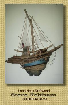boat made from driftwood collected on the shores of Loch Ness Scotland by a real life monster hunter www.nessiehunter.com https://www.facebook.com/ButtonsbyMcAnaraks/photos/a.669716903087568.1073742056.298407383551857/669713669754558/?type=3