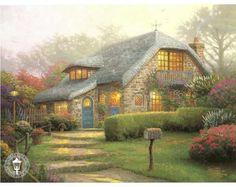 Lilac Cottage Painting by Thomas Kinkade