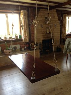 My luxury! Indian swing made with American Teak and accessories from India. Traditional  Indoor swing Like you would see in India.