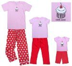 Adult Cupcake Short Sleeve Cotton Clothing Set for Women and Coordinating Matching Pink and Red Girls Playwear Outfits:Amazon:Clothing