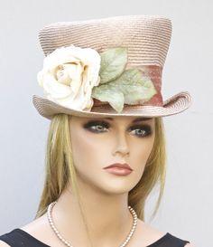 Summer Straw Top Hat Derby Hat Wedding Hat Women's by AwardDesign