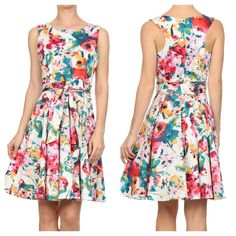Check out this cute little number! Floral racerback dress with pleated circle skirt. Adorbs!! ☀️. www.shopartifactsgallery.com.