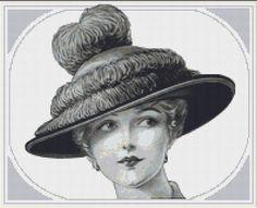Edwardian Hat Fashion Cross Stitch Pattern, Counted Cross Stitch Chart, Instant PDF Digital Download