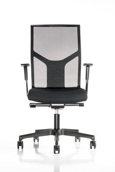 Sedia girevole su ruote ergonomica  con schienale in rete e sedile imbottito  Disponibile a magazzino in colore nero
