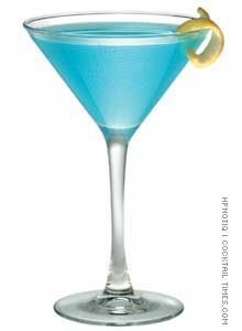 Blue Cosmo...because it's 5 O'Clock in Halifax Nova Scotia. Blue Cosmopolitan Ingredients: - 1 1/2 oz vodka - 1/2 oz blue curacao - 2 1/2 oz white cranberry juice Garnish: lemon peel Mix all ingredients in a cocktail shaker with ice. Strain into a chilled martini glass. Garnish with lemon peel. (from cocktailtimes.com)