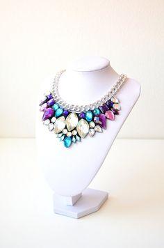 Silver Purple Turquoise Rhinestone Gem Crystal by GemsOver on Etsy