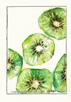 Grow Creative: Kiwis Anyone? Watercolor Food, Watercolor Paintings, Watercolor Ideas, Watercolours, Painting Inspiration, Art Inspo, Fruits Drawing, Fruit Flowers, True Art
