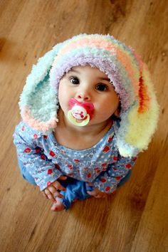 6 to 12 Months Bunny Hat Baby Beanie - Crochet Easter Bunny Baby Hat in Rainbow Spray, Flopsy Rabbit Hat For Girls - Photo Prop