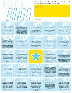 deskercise bingo by Back To Her Roots - ways to exercise more when you spend a lot of time sitting at a desk Health Challenge, Workout Challenge, Challenge Ideas, Office Exercise, Office Workouts, Desk Workout, Health Fair, Workplace Wellness, End Of The Week