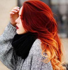 18 Ideas de pelo rojo llamativo Ombre // #Ideas #llamativo #Ombre #pelo #rojo Más