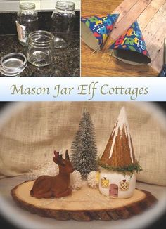 How to make mason jar elf cottages