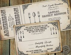 Steampunk Cuttery Ticket Invitation to Brunch day after wedding for farewell to bride and groom with matching rsvp card on Etsy, $26.50
