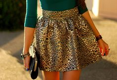 love glittery skirt with green top - sexy street style