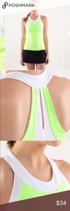 NWT Lululemon Run Make it Count Tank Sz 10 NWT Lululemon Run Make it Count Tank Sz 10. Fun green and white colors! Built in bra! Check out my closet, other Lulu and use the bundle offer button! lululemon athletica Tops Tank Tops