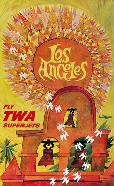 1959 Los Angeles -- Fly TWA. Artist: David #Klein. #poster #ephemera #TWA #California