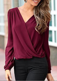 Wine Red Patchwork Lace Hollow-out V-neck Casual Blouse