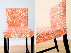 How to make slip covers. Tabs around bottom, velcro underneath. Orange You Glad? Oilcloth Chairs | MADE