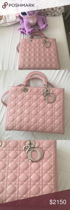 Dior large lady Dior bag in pink!!!! Dior large lady Dior bag in pink!!!! Great condition except for one pink pen sign. Still excellent for styling! This is a gift from my aunt, but it is too large for me. Dior Bags Shoulder Bags