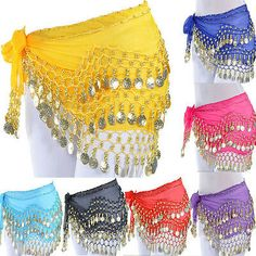 Belly Dance Dancing Hip Skirt Scarf Wrap Belt costume with 3 Rows Gold Coins USA Fringe Skirt, Skirt Belt, Belly Dance Scarf, Ballet Wrap Skirt, Beautiful Hips, Kids Dance Wear, Dance Accessories, Scarf Dress, Belly Dance Costumes