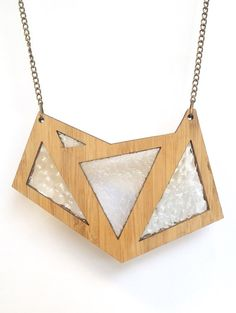 Foxface wooden pendant with clear textured glass.