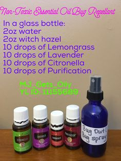 DIY nontoxic bug repellant. Made with Young Living Essential Oils - citronella, lemongrass, purification and lavender. Mix 2oz of water and 2oz of witch hazel with 10 drops each of lemongrass, lavender, citronella and purification in a glass bottle and mist on for protection. To protect your eyes, I would not recommend misting on your face. Mist on your hair to protect your face.