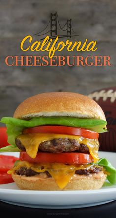 The California burger - topped with cheddar cheese, fresh tomatoes, and lettuce…