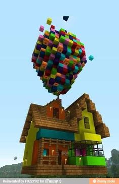 The house off of the movie Up in Minecraft. My boyfriend made me this once. my cousin jo said that. Im a boy!